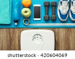 sports and workout equipment on ... | Shutterstock . vector #420604069