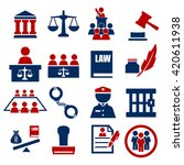 attorney  court  law icon set | Shutterstock .eps vector #420611938