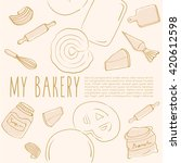 hand drawn bakery background  ... | Shutterstock .eps vector #420612598