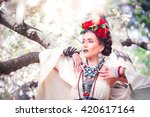 beautiful young mexican woman... | Shutterstock . vector #420617164