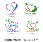 wellness symbols. healthy food... | Shutterstock .eps vector #420618574