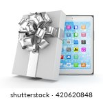 tablet in white gift box with... | Shutterstock . vector #420620848
