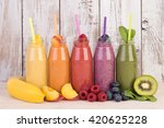 fruit smoothies variety in... | Shutterstock . vector #420625228