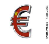 Silver Euro sign with China flag isolated on white. Computer generated 3D photo rendering. - stock photo