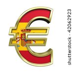 Gold Euro sign with Spain flag isolated on white. Computer generated 3D photo rendering. - stock photo
