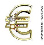 Gold Euro sign with Vatican City flag isolated on white. Computer generated 3D photo rendering. - stock photo