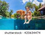 funny underwater photo of... | Shutterstock . vector #420634474