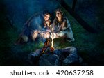 cave people dressed in animal...   Shutterstock . vector #420637258