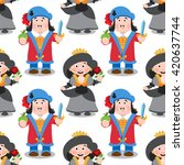 seamless pattern with cartoon... | Shutterstock .eps vector #420637744