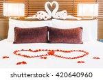 beautiful luxury pillow on bed...   Shutterstock . vector #420640960