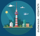 tv tower. mass media. cityscape....   Shutterstock .eps vector #420647674