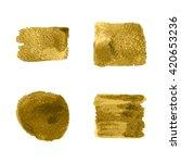 vector gold paint smear stroke... | Shutterstock .eps vector #420653236