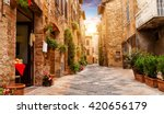Colorful Street In Pienza ...