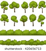 set of funny cartoon trees and... | Shutterstock .eps vector #420656713