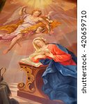 Small photo of ZIEMETSHAUSEN, GERMANY - JUNE 09: Annunciation of Virgin Mary, altarpiece in Maria Vesperbild Church in Ziemetshausen, Germany on June 09, 2015.