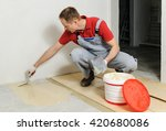 laying plywood on the floor. a... | Shutterstock . vector #420680086