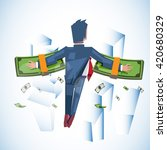 flying man with stack of money...   Shutterstock .eps vector #420680329