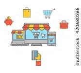 on line shopping communication. ... | Shutterstock . vector #420680368