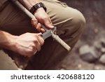 hunter man with knife cut a... | Shutterstock . vector #420688120