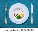 Small photo of view of calorie tot in food that on white plate