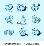 wellness symbols. healthy food... | Shutterstock .eps vector #420688588