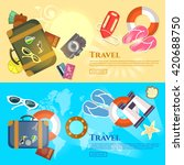 travel the world banner tourism ... | Shutterstock .eps vector #420688750