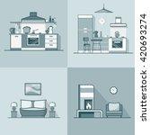condo accommodation kitchen... | Shutterstock .eps vector #420693274