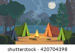 vector flat cartoon camping... | Shutterstock .eps vector #420704398