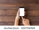 hand using phone blank screen... | Shutterstock . vector #420706960