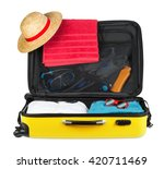 yellow open packed suitcase...   Shutterstock . vector #420711469