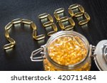 omega 3 6 9 fish oil yellow... | Shutterstock . vector #420711484