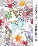 seamless flowers pattern   Shutterstock .eps vector #420712033