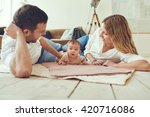 proud mother and father smiling ... | Shutterstock . vector #420716086