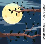 Night Forest. Vector Flat...