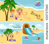 children summertime vacation... | Shutterstock .eps vector #420727060