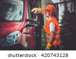 worker and his truck. hard... | Shutterstock . vector #420743128