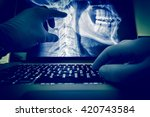 doctor examining spine and head ... | Shutterstock . vector #420743584