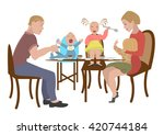 fun family  with baby eating... | Shutterstock . vector #420744184