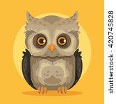 vector flat cartoon owl... | Shutterstock .eps vector #420745828