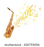 saxophone and notes coming out... | Shutterstock . vector #420755056