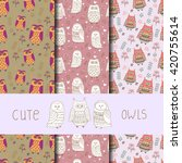 cute owls seamless pattern. set ... | Shutterstock .eps vector #420755614