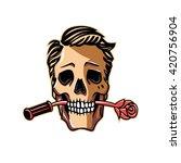 skull with rose flower | Shutterstock .eps vector #420756904