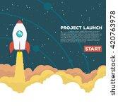 flat style illustration. rocket ... | Shutterstock .eps vector #420763978