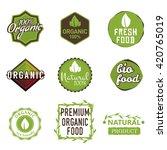 set of organic food labels  100 ... | Shutterstock .eps vector #420765019