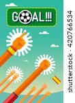 football  soccer . goal. hands... | Shutterstock .eps vector #420766534