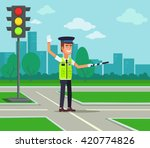 traffic policeman. vector flat... | Shutterstock .eps vector #420774826