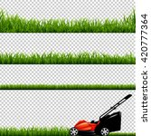 lawnmower with green grass ... | Shutterstock .eps vector #420777364