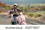 lady biker in the foothills of... | Shutterstock . vector #42077857