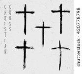 grunge set of christian crosses ...   Shutterstock .eps vector #420778798