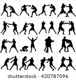 group of different poses of... | Shutterstock .eps vector #420787096